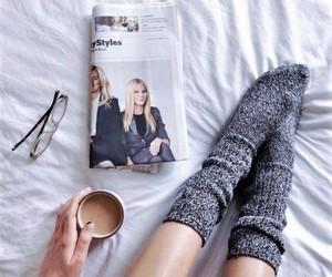 coffee, socks, and magazine image