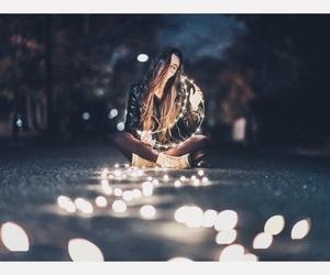 light, girl, and night image