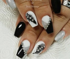 art, nails, and black&white image