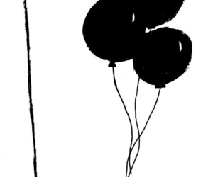 aesthetic, black and white, and black balloons image
