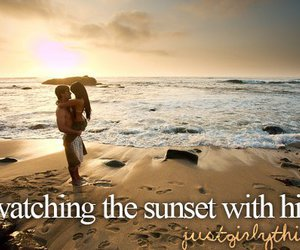 boy, girl, and sunset image