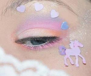 unicorn, pastel, and eye image