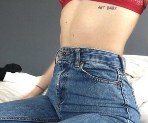 tattoo, jeans, and red image