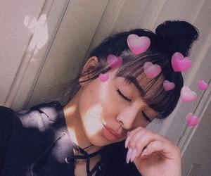 bangs, black, and makeup image