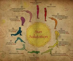 yoga, sun salutation, and sun image