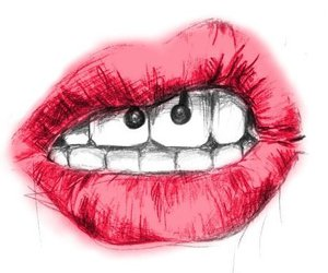 lips, piercing, and red image