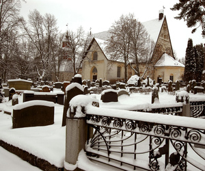 cemetery, headstones, and snow image
