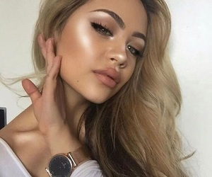 girl, makeup, and highlight image