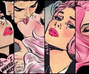 comic, pop art, and pink image