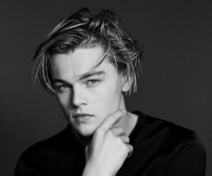 leonardo dicaprio, 90s, and black and white image
