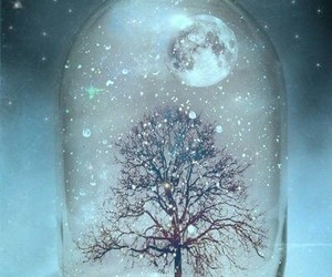 tree, moon, and snow image