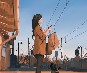 art, dog, and girl image
