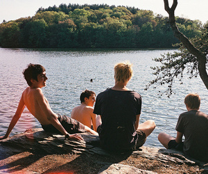 boy, friends, and lake image