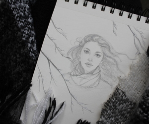 girl, winter, and pencil image
