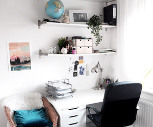 book, desk, and work image