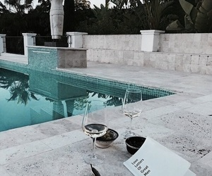 book, drink, and pool image