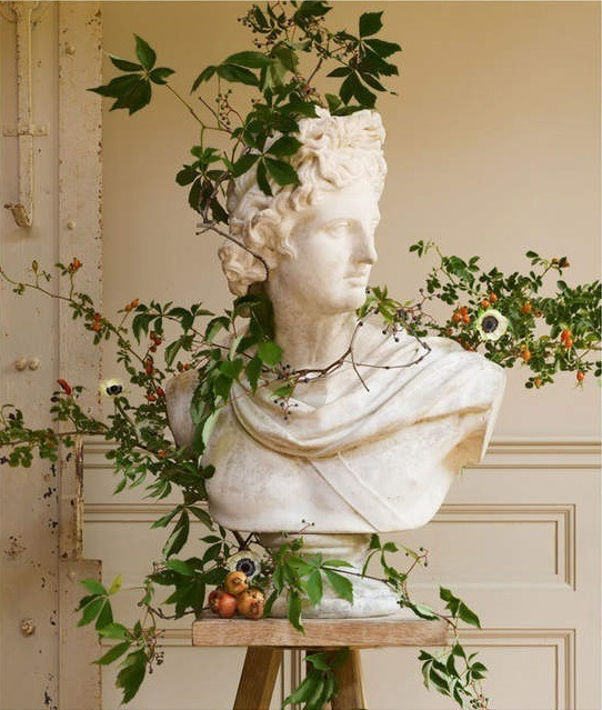 art, bust, and plants image