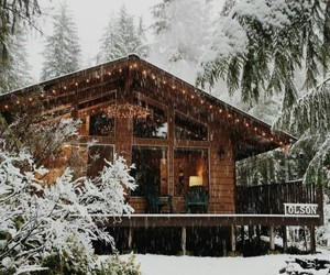christmas, winter, and cabin living image