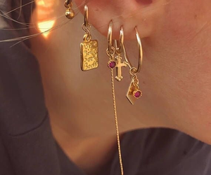 gold, earrings, and style image