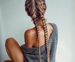 braid, braids, and bun image