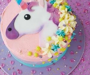 unicorn, cake, and flowers image