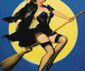witch, Pin Up, and Halloween image