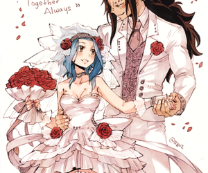 gajeel redfox, levy mcgarden, and fairy tail image