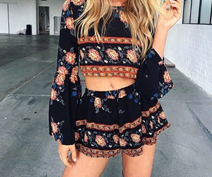 outfit, black, and blonde image