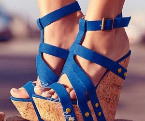 woman, fashion sandals, and blue sandals image