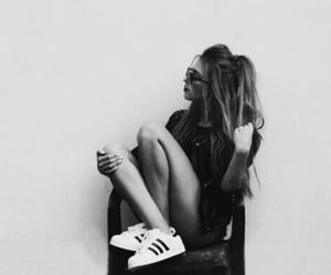 girl, adidas, and black and white image