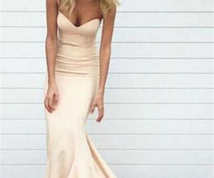 blush prom dress, mermaid bridesmaid dress, and pink evening dress image