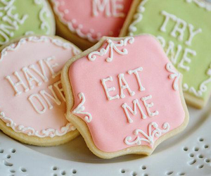 Cookies, alice in wonderland, and eat me image