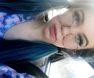 blue hair, youtube, and glasses image