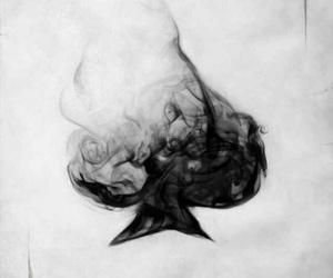 card, smoke, and black and white image