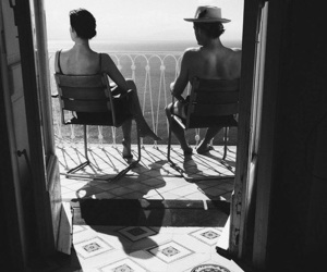 black and white, love, and balcony image