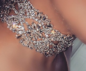 choker, diamonds, and skin image
