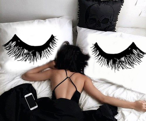 black, bed, and pillow image