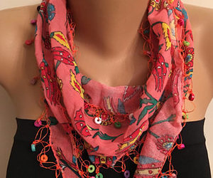 blue scarf, best gifts ever, and wooden bead scarf image