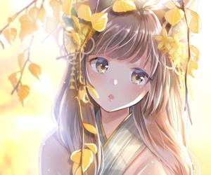 anime girl, anime, and yellow image