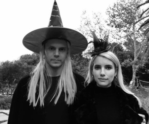 emma roberts, evan peters, and Halloween image
