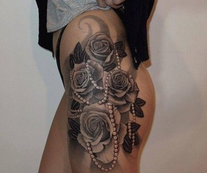 tattoo, rose, and pearls image