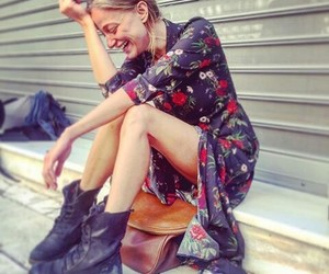 black boots, floral, and rock image