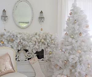 christmas, decor, and fireplace image