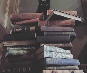 book, cat, and black cat image