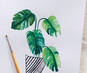 art, watercolors, and plant image