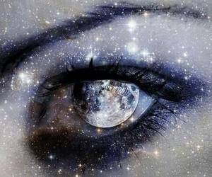 eye, moon, and galaxy image