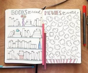 books, goals, and planner image