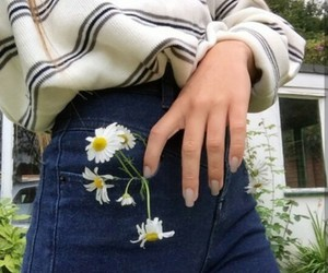 girl, flowers, and jeans image