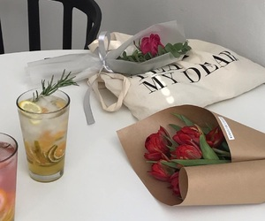 aesthetic, drink, and flowers image