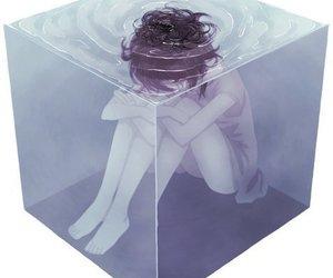 sad, water, and art image
